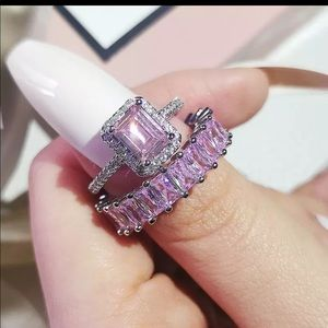 New silver pink ring  eternity  band
